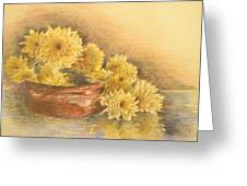 Yellow Flowers With Still Life Greeting Card