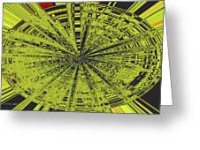 Yellow Green Black Abstract Greeting Card