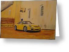 Yellow Gt3 Porsche Greeting Card