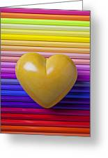 Yellow Heart On Row Of Colored Pencils Greeting Card