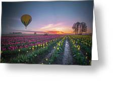 Yellow Hot Air Balloon Over Tulip Field In The Morning Tranquili Greeting Card