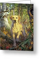 Yellow Lab In Fall Greeting Card