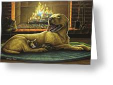 Yellow Lab With Kitten Greeting Card