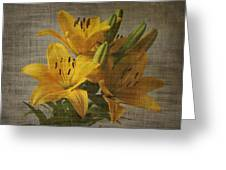 Yellow Lilies With Old Canvas Texture Background Greeting Card
