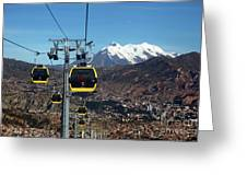 Yellow Line Cable Cars And Mt Illimani La Paz Bolivia Greeting Card