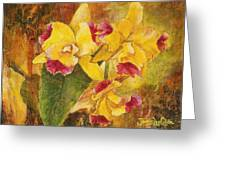 Yellow Orchids Acrylic Greeting Card