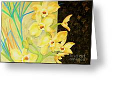 Yellow Orchids With Black Screen Greeting Card