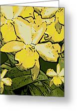 Yellow Orchids Woodcut Greeting Card