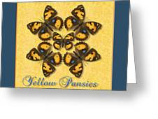 Yellow Pansy Butterfly Wheel Greeting Card