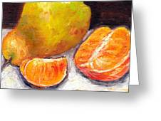 Yellow Pear With Tangerine Slices Grace Venditti Montreal Art Greeting Card
