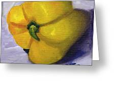 Yellow Pepper On Linen Greeting Card