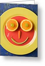 Yellow Plate With Food Face Greeting Card