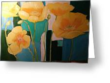 Yellow Poppies On Blue Greeting Card