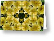 Yellow Primrose Kaleidoscope Greeting Card