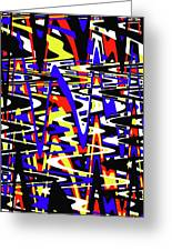 Yellow Red Blue Black And White Abstract Greeting Card