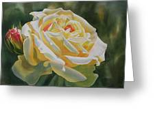Yellow Rose With Bud Greeting Card