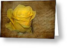 Yellow Rose With Old Notes Paper On The Background Greeting Card
