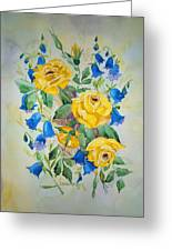Yellow Roses And Blue Bells Greeting Card