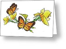 Yellow Roses And Monarch Butterflies Greeting Card
