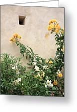 Yellow Roses And Tiny Window At Carmel Mission Greeting Card