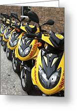 Yellow Scooters Greeting Card