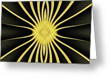 Yellow Starburst On Black Greeting Card