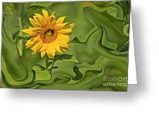 Yellow Sunflower On Green Background Greeting Card