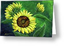 Yellow Sunflowers On Green Greeting Card