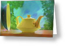 Yellow Teapot And Bowl Greeting Card