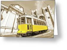 yellow tram Lisbon Greeting Card