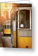 Yellow Trams Of Lisbon Portugal  Greeting Card