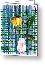 Yellow Tulip In A Pink Vase Greeting Card