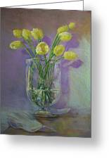 Yellow Tulips In A Glass Greeting Card