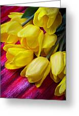 Yellow Tulips With Dew Drops Greeting Card