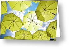 Yellow Umbrellas Greeting Card