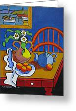 Yellow Vase With Blue Teapot Greeting Card