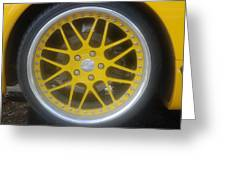 Yellow Vette Wheel Greeting Card