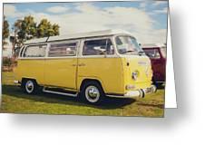 Yellow Vw T2 Camper Van 02 Greeting Card