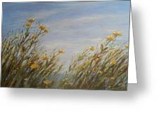 Yellow Wildflowers In The Sea Breeze Greeting Card