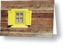 Yellow Window On Wooden Hut Wall Greeting Card