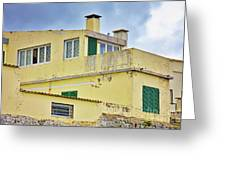 Yellow Worn Out Concrete House Greeting Card