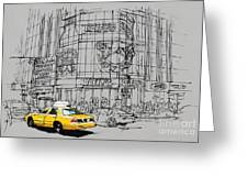 Yelow Cab On New York Streets Greeting Card