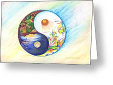 Yin Yang Spring And Autumn Greeting Card