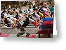 Yoga At Bryant Park Greeting Card by Luis Lugo