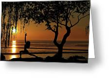 Yoga By The Bay At Sunset Greeting Card