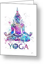 Yoga Meditation Watercolor Print Greeting Card