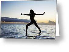 Yoga On The Coastline Greeting Card
