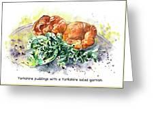 Yorkshire Puddings With Yorkshire Salad Garnish Greeting Card