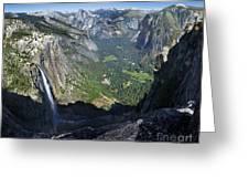 Yosemite Falls And Valley From Eagle Tower - Yosemite Greeting Card