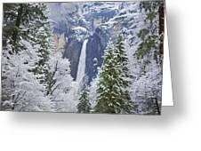 Yosemite Falls In The Snow Greeting Card